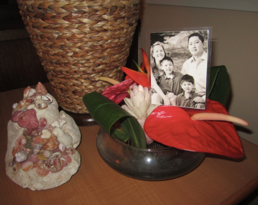 "A picture worth even more: a dear friend's ""alter"" sending my whole family sweet aloha breezes."