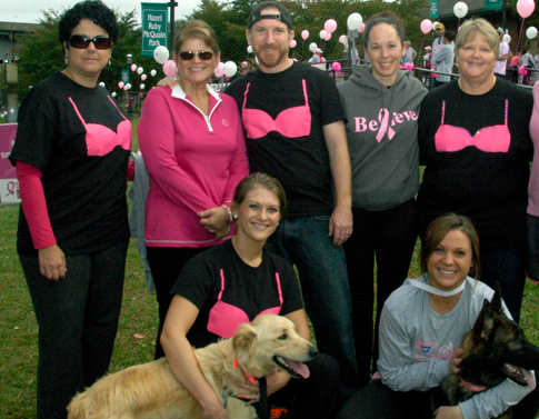 "Giggle. A pink bra ""over"" my shirt. Guffaw, a guy wearing a bra! Hey, let's get some of these for the DOGS! Hilarious!"